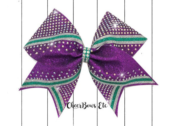 Purple Teal and Silver cheer bow
