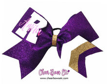 Load image into Gallery viewer, purple, white and gold personalized chevron cheer bow