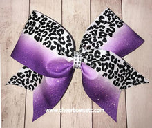 Load image into Gallery viewer, Leopard Print Purple Cheer Bow