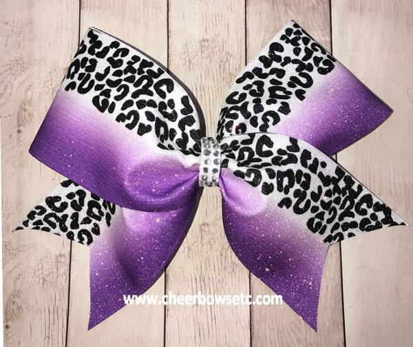 Leopard Print Purple Cheer Bow