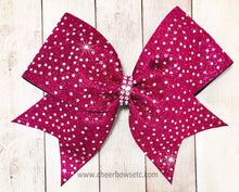 Load image into Gallery viewer, rasberry hot pink glitter bow with stones