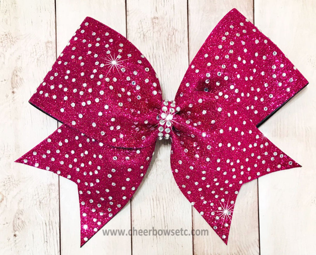 rasberry hot pink glitter bow with stones