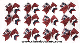 Red team cheerleading bows with logo
