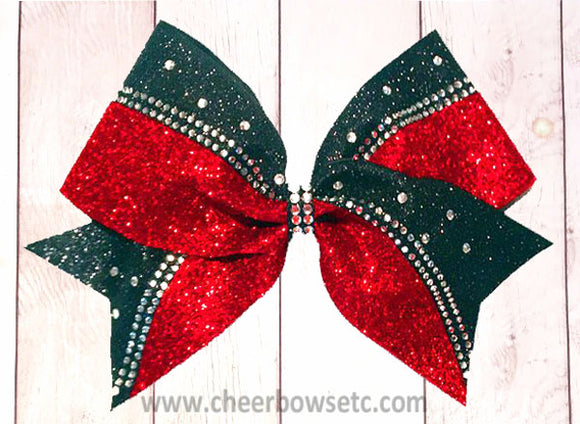 Red Glitter Rhinestone Switch Kick Bow