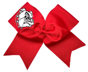 Red bulldog mascot bow