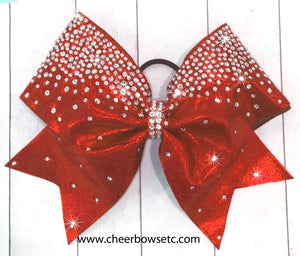 red mystique frosted loops cheerleading hair bow