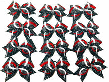 Load image into Gallery viewer, white black and red glitter rhinestone cheerleading bow