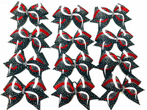white black and red glitter rhinestone cheerleading bow