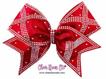 Load image into Gallery viewer, red power x heavy rhinestone bow