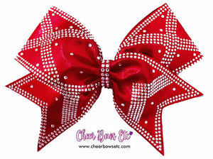 red power x heavy rhinestone bow