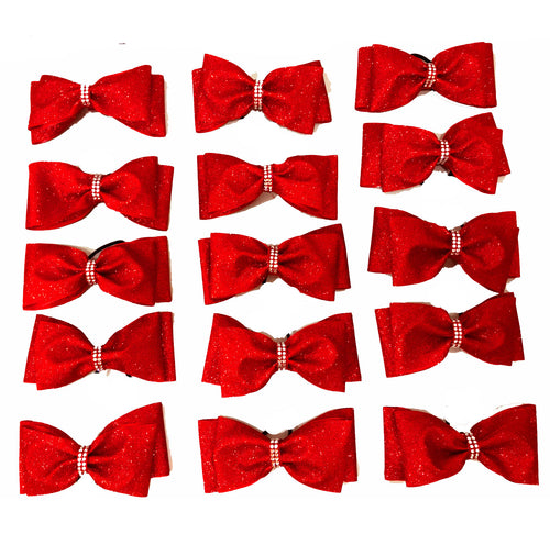Red Glitter Tailless Bows