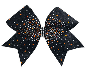 Gold and Crystal Rhinestone cheer bow with black glitter