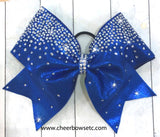 royal blue cheerleading hair bow with stones