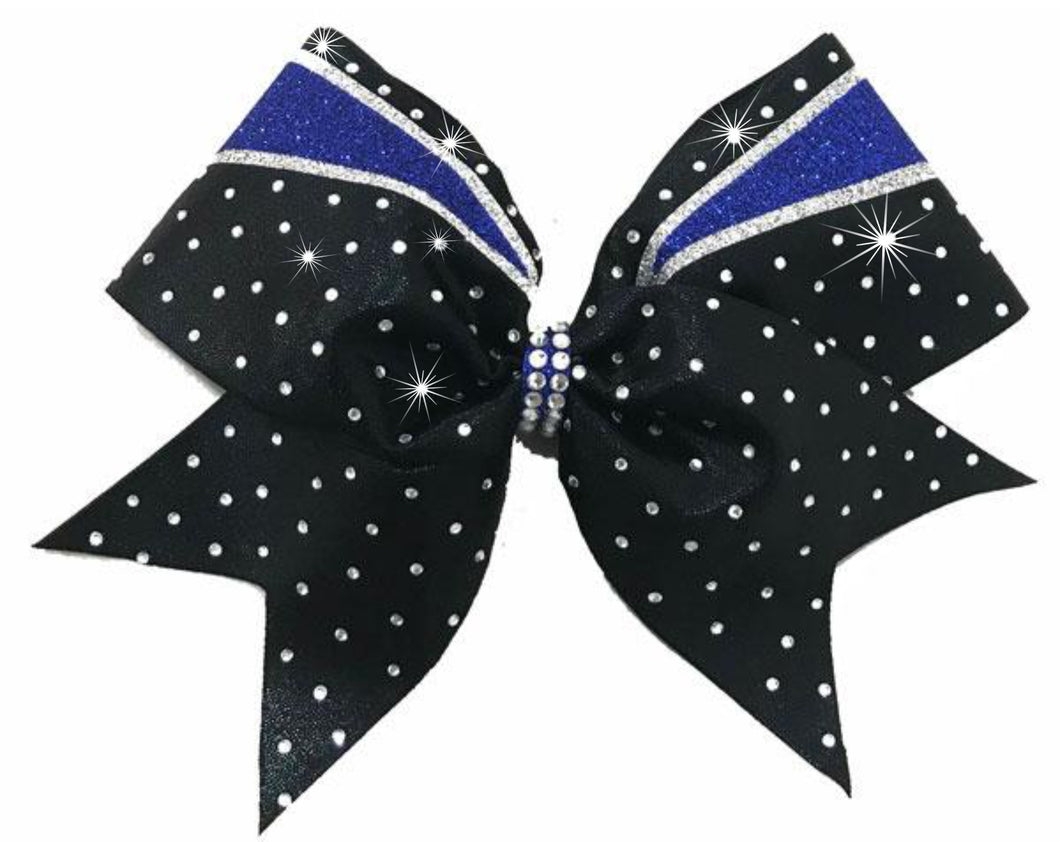 Royal Blue and White Glitter & Stones Bow