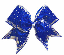 Load image into Gallery viewer, Royal Blue Glitter and Rhinestones Starlight Cheerleading hair bow
