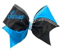 Load image into Gallery viewer, Personalized Turquoise & Black Rhinestone cheerleading bow