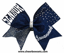 Load image into Gallery viewer, navy blue senior cheerleading bow