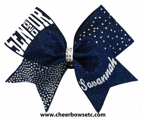 navy blue senior cheerleading bow