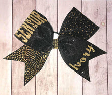 Load image into Gallery viewer, Senior rhinestone and glitter bow in black with gold lettering