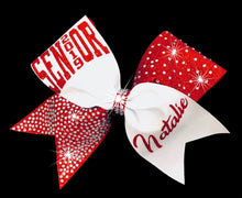 Load image into Gallery viewer, Tick Tock Cheerleading Bow red and white glitter with rhinestones
