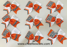 Load image into Gallery viewer, Senior Spotlight Rhinestone Paw Print Cheer Bow