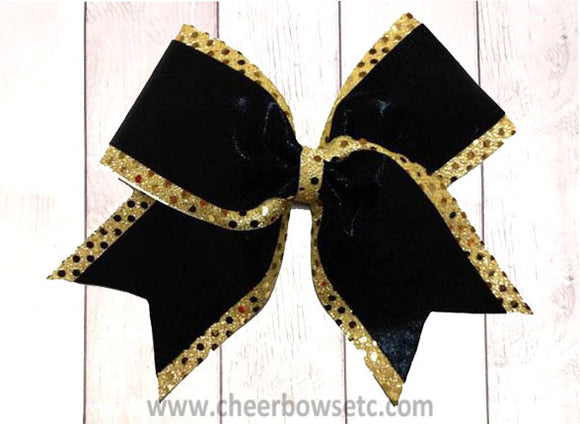 gold and black sequins cheer bow