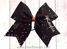 Load image into Gallery viewer, Personalized black and silver cheerleading bow