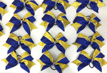 Load image into Gallery viewer, Yellow Gold and Royal Blue Glitter & Rhinestone Cheerleading Hair Bow