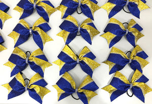 Yellow Gold and Royal Blue Glitter & Rhinestone Cheerleading Hair Bow