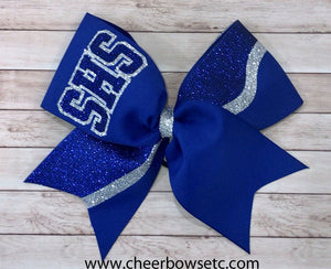 3 letters school bow in royal & silver