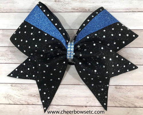 black and columbia blue sticks and stones bow