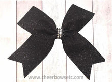Load image into Gallery viewer, small black glitter cheer bow