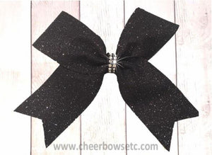small black glitter cheer bow