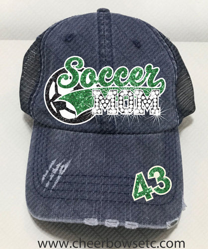 Soccer Mom Denim Hat-Flock, Glitter & Rhinestones