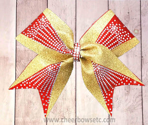 Sticks and Stones cheer bow gold and red