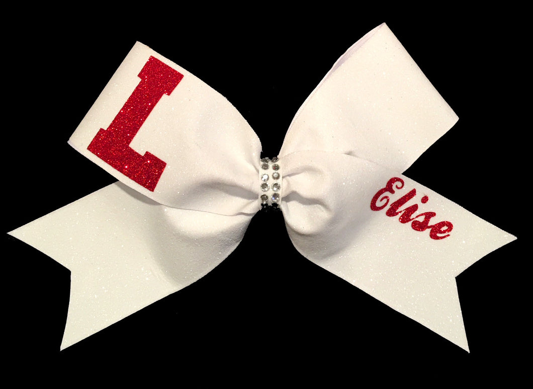 Personalized Bright White  All Glitter Team Bow