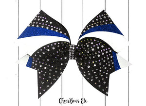 royal blue black and white cheer bow