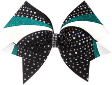 Load image into Gallery viewer, teal black and white swirl cheer bow