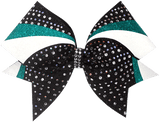 teal black and white swirl cheer bow