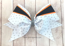 Load image into Gallery viewer, Swirl Glitter Bow orange and white black
