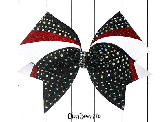 swirl bow red white black crystal ab cheer bows