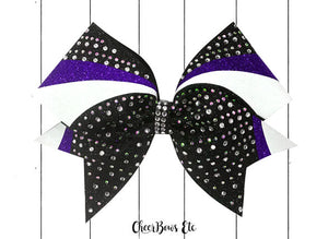 Purple white and black cheer bow