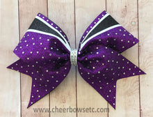 Load image into Gallery viewer, purple swirl cheer bow