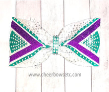 Load image into Gallery viewer, Purple & Teal Tailless cheer bow