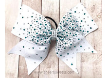 Load image into Gallery viewer, White, Teal & Crystal Rhinestone Cheer Bow