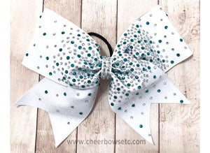 White, Teal & Crystal Rhinestone Cheer Bow