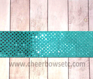 Teal Green Sequins Iron On Bow Strip