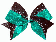 Load image into Gallery viewer, Teal Rhinestone Cheerleading Hair Bow