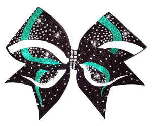 Cheerleading hair bow in teal, white and black glitter with rhinestones