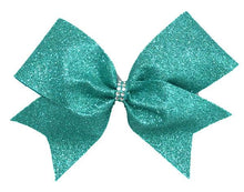 Load image into Gallery viewer, Teal Glitter Cheer Bow